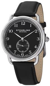Đồng hồ Stuhrling Original Men's 207.02 Classic Cuvette Decor Swiss Quartz Black Leather Strap Watch