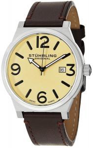 Đồng hồ Stuhrling Original Men's 454.3315K15 Leisure Eagle Osprey Swiss Quartz Date Brown Leather Strap Watch