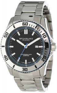Đồng hồ Stuhrling Original Men's 714.03 Aquadiver Regatta Bermuda Swiss Quartz Professional Diver Blue accent Stainless Steel Bracelet Watch