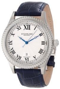 Đồng hồ Stuhrling Original Men's 91C.3315C2 Symphony Aristocrat Augustus Automatic Mechanical Date Blue leather Strap Watch