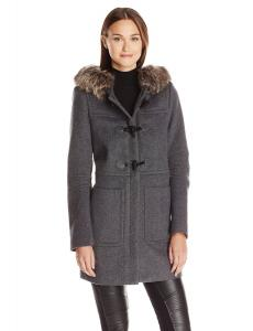 Áo khoác BCBGeneration Women's Wool Toggle Coat with Fur-Trimmed Hood