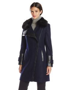 Áo khoác Via Spiga Women's Wool Coat with Ultra Soft Faux Fur Collar