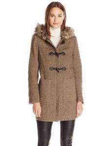 Áo khoác BCBGeneration Women's Wool Tweed Toggle Coat with Fur Trimmed Hood