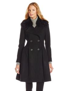 Áo khoác Badgley Mischka Women's Robyn Fit and Flare Wool Coat with Sherpa Trim
