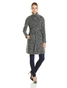 Áo khoác T Tahari Women's Izzy Wool Tweed Belted Military Coat