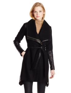 Áo khoác Badgley Mischka Women's Lori Belted Wool Cashmere Coat with Leather Trim