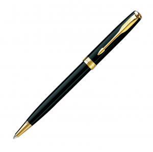 Bút Parker Sonnet GT Lacquer Medium Point Ballpoint Pen with Golden Trim, Black (S0808730)