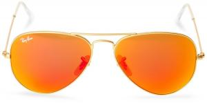 Kính mắt Ray Ban Aviator Luxottica Red Orange Mirror Gold Frame Rb3025 112/69 58mm Made in Italy