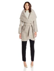 Áo khoác T Tahari Women's Marla Tweed Wool Wrap Coat