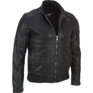 Áo khoác Black Rivet Mens Faux-Leather Moto Jacket W/ Knit Bottom