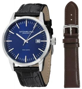 Đồng hồ Stuhrling Original Men's 555A.04 Classic Ascot II  Swiss Quartz Date Blue Dial Strap Set Watch