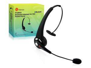 Tai nghe TaoTronics® TT-BH01 Black Rechargeable Wireless Over-the-head Bluetooth Headset with Microphone, Featuring Noise Reduction / Multi-Point / 8 Hours Talk Time / Sony PS3 Supported