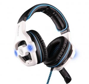 Tai nghe SADES SA-903 7.1 Sound Effect USB Gaming Headset Headphone Earset Earphone with Microphone Blue / White