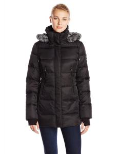 Nautica Women's Mid-Length Down Coat with Fur-Trim Hood