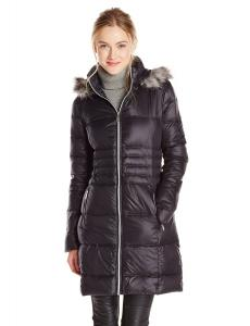 BCBGeneration Women's Mid Length Packable Down Coat with Fur Hood