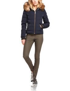 Maison Scotch Women's Short Fitted Down Jacket with Faux Fur Trim Hood