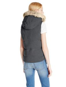 U.S. Polo Assn. Women's Poly Air Touch Front and Cable Knit Back Hooded Vest