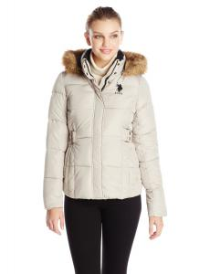 U.S. Polo Assn. Women's Hooded Puffer Jacket with Elastic-Waist Tabs