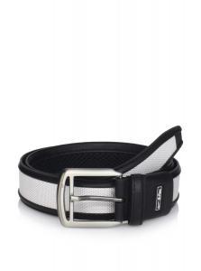 Dây lưng Nike Tour Premium Men's Golf Belt - Leather and Nylon - Black/White - 32