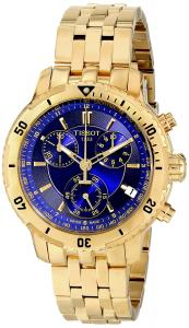 Đồng hồ Tissot PRS-200 Men's Blue Chronograph Dial Yellow Gold Watch T067.417.33.041.00