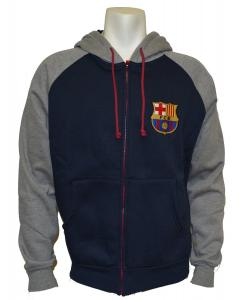 Áo khoác Fc Barcelona Soccer Zip Front Fleece Hoodie Sweatshirt Jacket Blue NEW Season 2014-2015