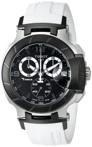Đồng hồ Tissot Men's T0484172705705 T-Race Black Chronograph Dial White Rubber Strap Watch