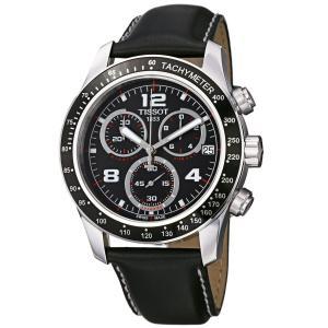 Đồng hồ Tissot Men's T0394171605702 V 8 Black Leather Strap Chronograph Dial Watch