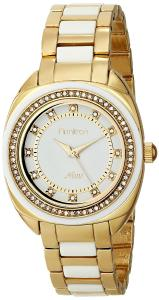 Đồng hồ Armitron Women's 75/5211WTGPWT Swarovski Crystal Accented White Resin and Gold-Tone Bracelet Watch