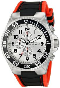 Đồng hồ Invicta Men's 12411 Pro Diver Chronograph Silver Dial Black and Red Polyurethane Watch