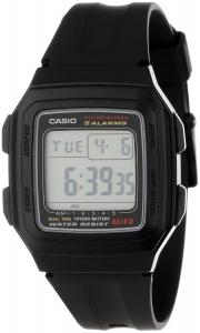 Đồng hồ Casio Men's F201WA-1A Black Resin Multi-Function Alarm Sport Watch
