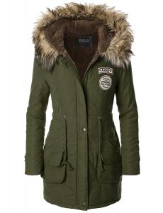 Áo khoác Doublju Womens Faux Fur Trim Hooded Casual Packable Down Jacket