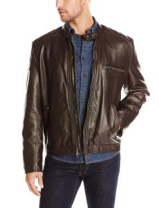 Marc New York by Andrew Marc Men's Felton Distressed Faux Leather Moto Jacket