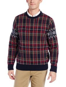 Dockers Men's Plaid Crew-Neck Ugly Christmas Sweater