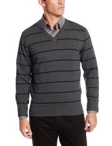 IZOD Men's Road Trip Fine Gauge Striped V-Neck Sweater