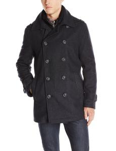 Marc New York by Andrew Marc Men's Kerr Wool Pea Coat with Micro Suede Bib