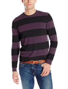 Williams Cashmere Men's 100% Cashmere Striped Crew Neck Sweater