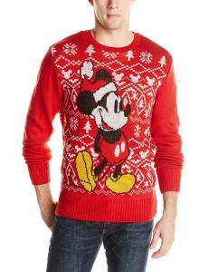 Disney Men's Holiday Mickey Ugly Christmas Sweater, Red, Medium