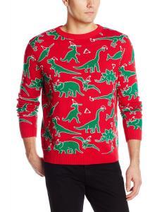 Alex Stevens Men's Dinosaur Chaos Ugly Christmas Sweater