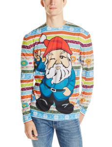 Faux Real Men's Christmas Gnome Ugly Sweater Printed T-Shirt