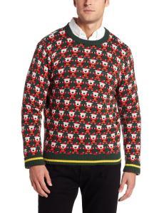 Alex Stevens Men's 8 Bit Santa Holiday Sweater, Green Beret, XX-Large