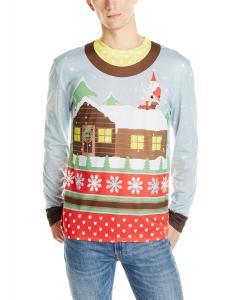 Faux Real Men's Santa On Break Ugly Christmas Sweater Printed Tee