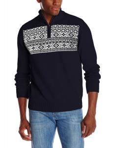 Dockers Men's Chest Block Fairisle Zip Mock Sweater