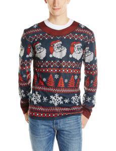 Faux Real Men's Santa Stripe Ugly Christmas Sweater Printed Tee