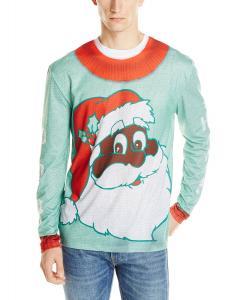 Faux Real Men's Black Santa Ho Ho Ho Ugly Christmas Sweater Printed Tee