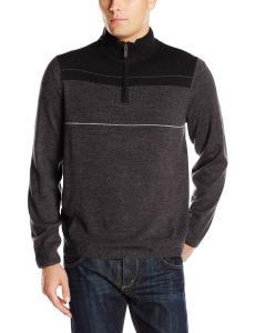 Dockers Men's Color-Block Stripe Quarter-Zip Sweater