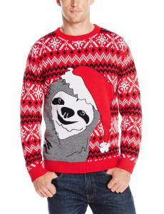 Alex Stevens Men's Slothy Christmas Ugly Christmas Sweater, Red Combo, XX-Large