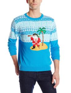 Alex Stevens Men's Tropical Pirate Ugly Christmas Sweater, Blue Combo, XX-Large