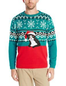 Alex Stevens Men's Fairisle Kitty Ugly Christmas Sweater, Red Combo, X-Large