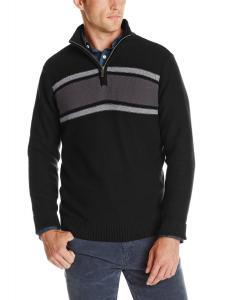 Dockers Men's Color-Block Chest-Stripe Quarter-Zip Sweater