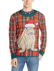 Faux Real Men's Plaid Walrus Ugly Sweater